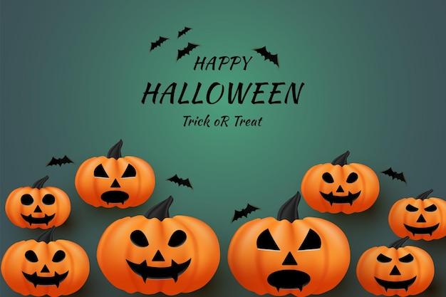 Joyeux halloween sur fond vert foncé avec effet de lumière au milieu
