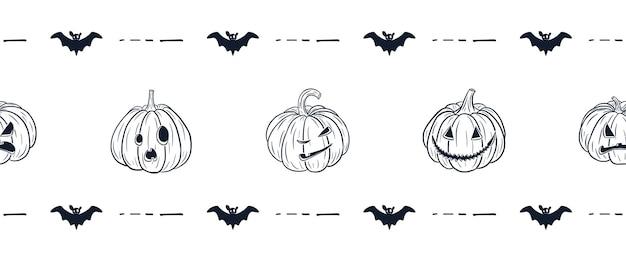 Joyeux halloween frontière. style de bande dessinée. citrouilles effrayantes avec des visages. lanterne citrouille et bordure chauve-souris pour la conception et la décoration des vacances d'automne. vecteur premium