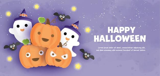 Joyeux halloween avec de jolies citrouilles et fantômes dans le style de couleur de l'eau.