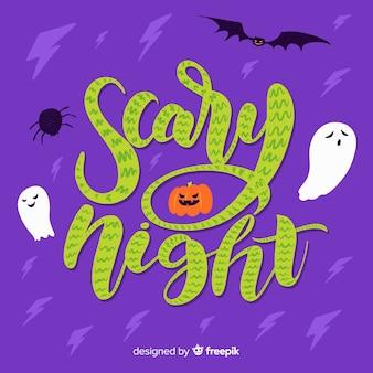 Joyeux halloween avec lettrage de nuit effrayant