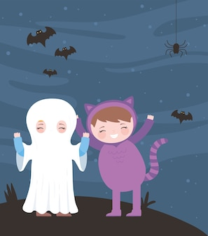 Joyeux halloween, maman et chat costume personnage nuit chauves-souris, trucs ou friandises, fête