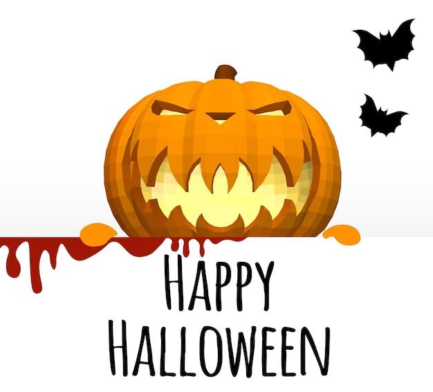 Joyeux halloween. un modèle sur fond blanc avec une tête de citrouille qui sort de derrière le bord.