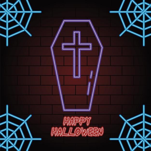 Joyeux halloween néon de conception d'illustration vectorielle cercueil