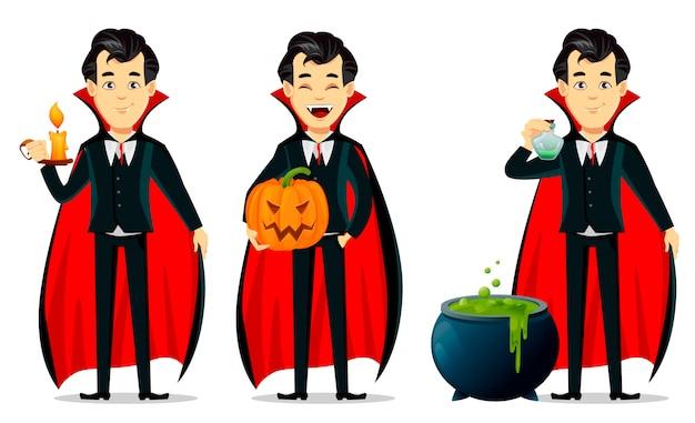 Joyeux halloween, personnage de dessin animé de vampire