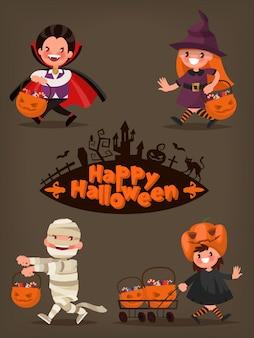 Joyeux halloween. personnages de bébé avec des paniers de bonbons. illustration d'un design plat