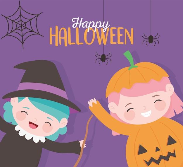 Joyeux halloween, petite fille sorcière et personnage de costume de citrouille tour ou régal, fête