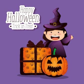 Joyeux halloween avec petite sorcière