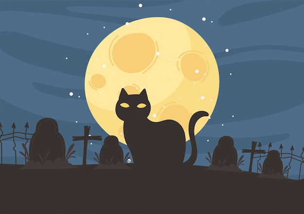 Joyeux halloween, pierres tombales de cimetière chat noir traverse nuit lune astuce ou traiter illustration vectorielle de fête fête
