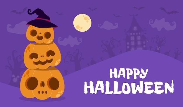 Joyeux halloween poster party patch citrouille dans la nuit jack o lantern party trick ou traiter