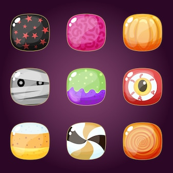 Joyeux halloween set de bonbons trick or treat.