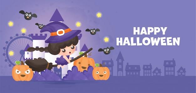 Joyeux halloween avec une sorcière mignonne.