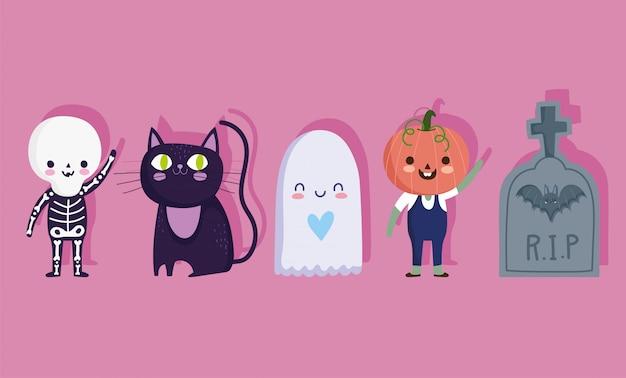 Joyeux halloween, squelette de pierre tombale de chat fantôme et costume de citrouille astuce ou traiter illustration vectorielle de fête célébration