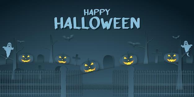 Joyeux halloween, tête de citrouille, cimetière, chauve-souris et fantôme avec texte, style art papier