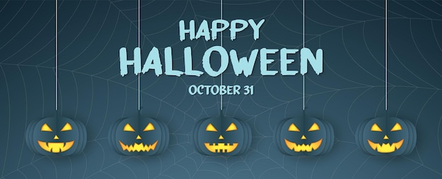 Joyeux halloween, tête de citrouille suspendue, toile d'araignée, fond de toile d'araignée avec texte