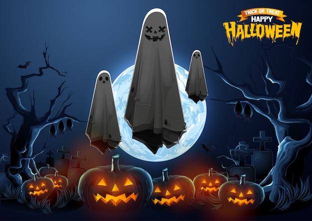 Joyeux halloween voeux avec ghost flottant dans l'air et les citrouilles dans la nuit.