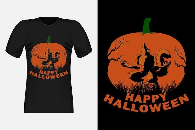 Joyeux halloween avec wolf silhouette vintage retro t-shirt design
