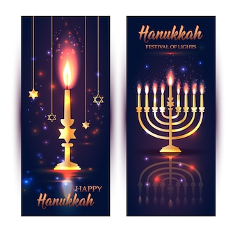 Joyeux hanoukka brillant fond avec menorah, david stars et effet bokeh.