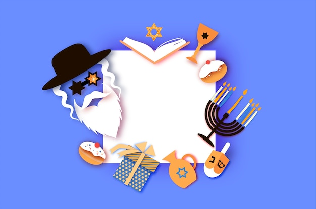 Joyeux hanoukka. la fête juive des lumières. caractère de l'homme juif dans les lunettes de david stars. menorah festive, dreidel. pâtisserie traditionnelle douce et lumières dorées. cadre carré. style de papier découpé.
