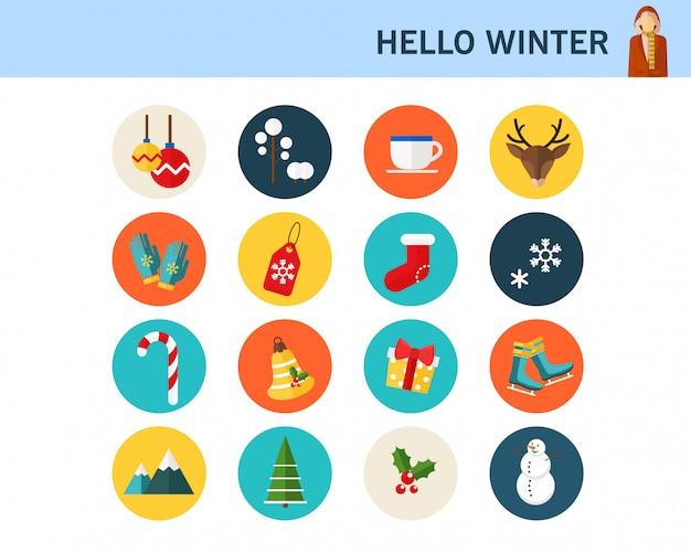 Joyeux hiver consept icônes plates.