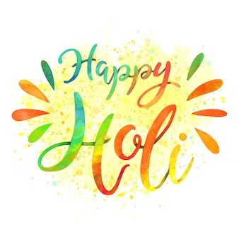 Joyeux holi lettrage message coloré