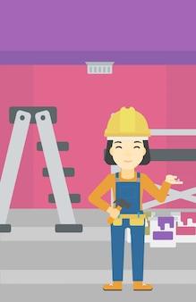 Joyeux ingénieur réparateur.