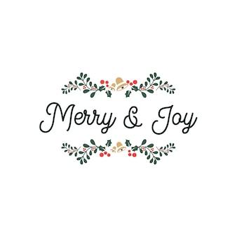 Joyeux et joie lettrage citations de typographie avec ornement floral
