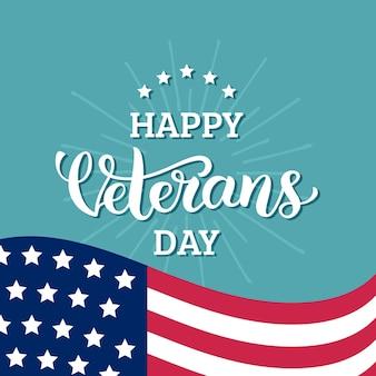 Joyeux jour des anciens combattants lettrage avec drapeau usa