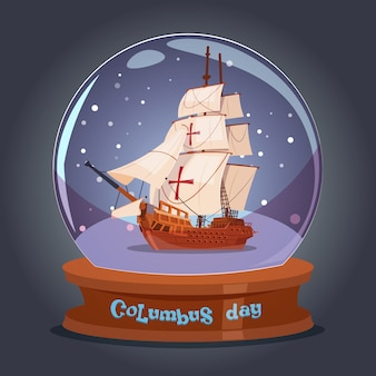 Joyeux jour de bateau de columbus dans l'affiche de vacances de boule de verre