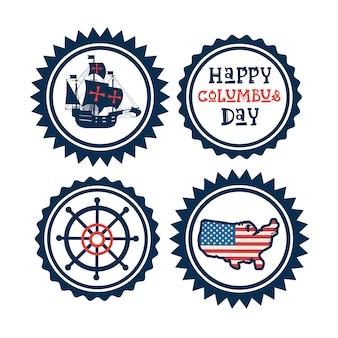 Joyeux jour de columbus national usa vacances carte de voeux icon set isolé