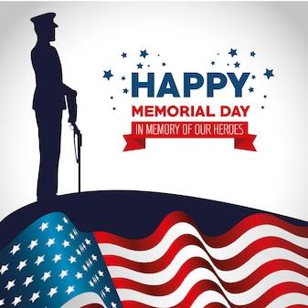 Joyeux jour commémoratif carte avec soldat silhuette
