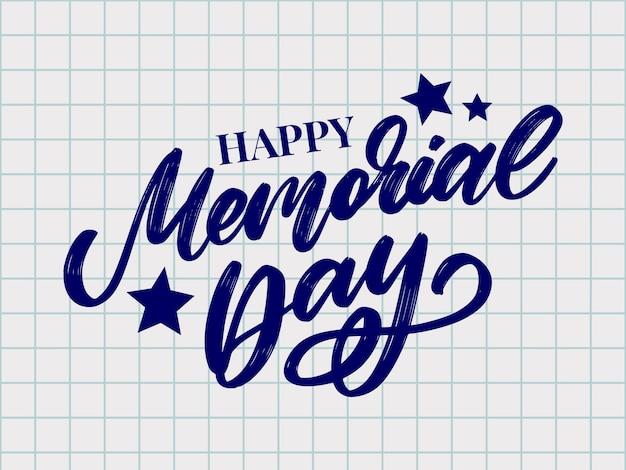 Joyeux jour commémoratif avec lettre étoiles et rayures
