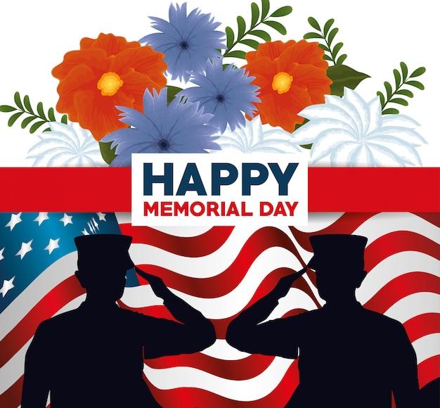 Joyeux jour du souvenir avec de belles fleurs et la silhouette du soldat