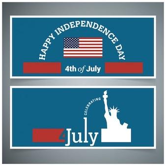 Joyeux jour de l'indépendance le 4 juillet banner set