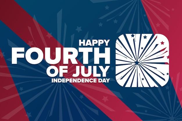 Joyeux jour de l'indépendance. 4 juillet. notion de vacances. modèle d'arrière-plan, bannière, carte, affiche avec inscription de texte. illustration vectorielle eps10.