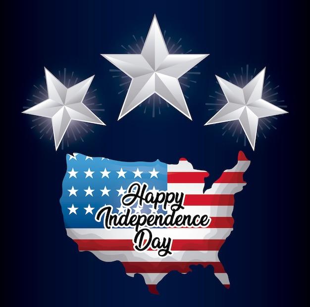 Joyeux jour de l'indépendance carte avec carte