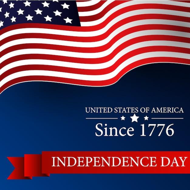 Joyeux jour de l'indépendance des états-unis le 4 juillet avec drapeau ondulant