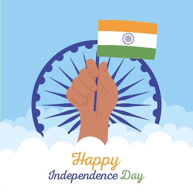 Joyeux jour de l'indépendance de l'inde, main levée avec drapeau en poteau avec illustration de roue