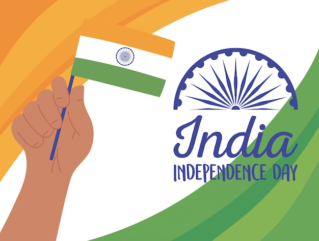 Joyeux jour de l'indépendance, main avec illustration de carte de fête drapeau indien