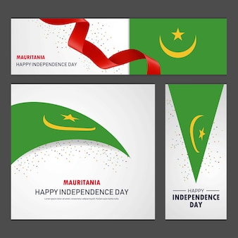 Joyeux jour de l'indépendance de la mauritanie bannière et fond ensemble