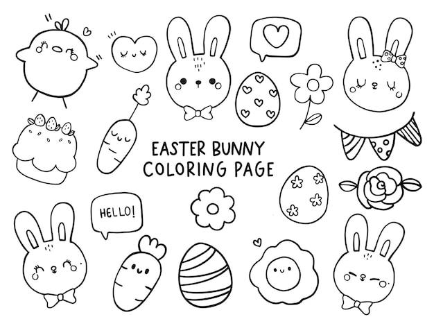 Joyeux jour de pâques avec coloriage de lapin