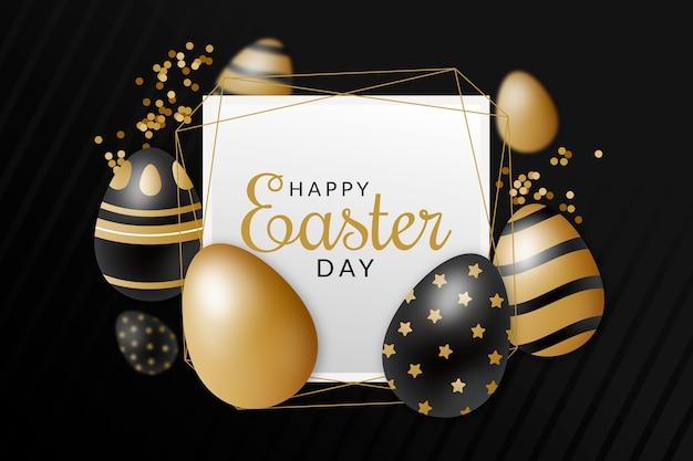 Joyeux jour de pâques design oeuf doré et noir