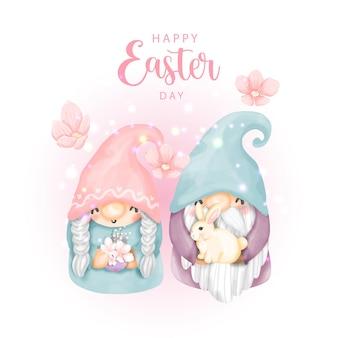 Joyeux jour de pâques avec des gnomes mignons et des oeufs de pâques
