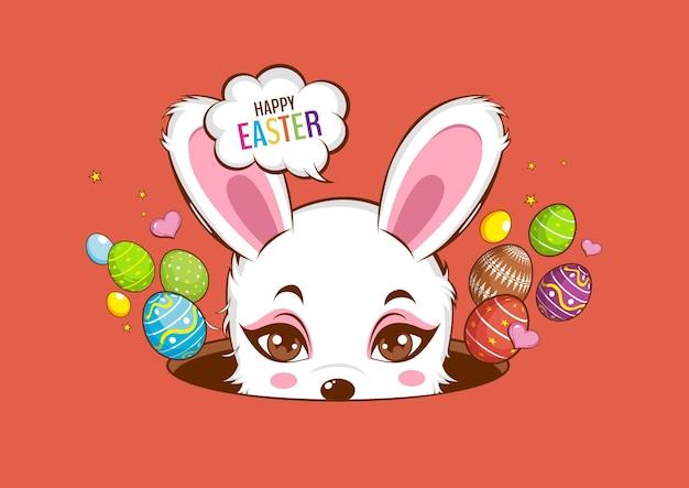 Joyeux jour de pâques, lapin blanc mignon, lapin.