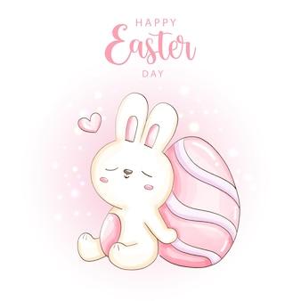 Joyeux jour de pâques avec mignon lapin et oeufs de pâques.