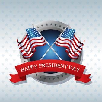 Joyeux jour de la présidente a traversé le drapeau américain étiquette de ruban