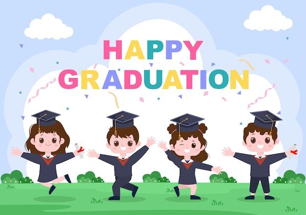 Joyeux jour de remise des diplômes des étudiants célébrant l'illustration vectorielle de fond portant une robe académique, une casquette d'études supérieures et un diplôme titulaire dans un style plat