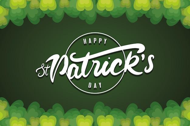 Joyeux jour de la saint patrick lettrage en illustration de fond vert cadre circulaire