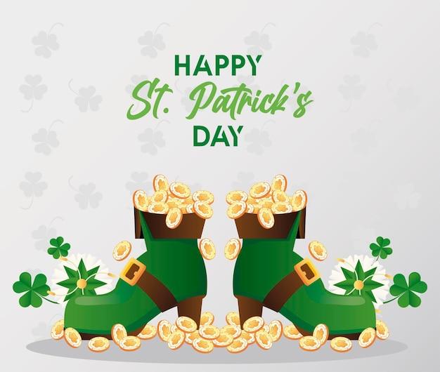 Joyeux jour de la saint patrick lettrage avec des pièces au trésor en illustration de bottes elf