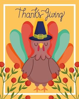 Joyeux jour de thanksgiving, dinde avec carte de baies de branche de chapeau