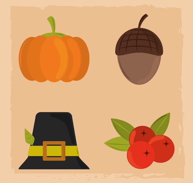 Joyeux jour de thanksgiving, icônes de gland et de fruits de chapeau de citrouille